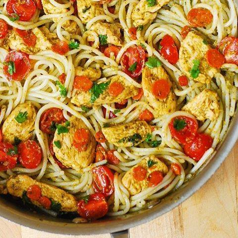 Pesto Chicken with Parmesan Noodles