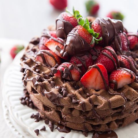 Whole Wheat Dark Chocolate Covered Strawberry Waffles