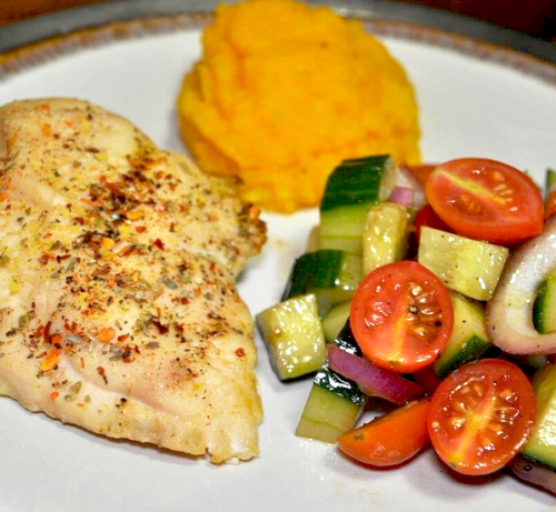 Chicken breast, cucumber tomato salad and whipped butternut squash