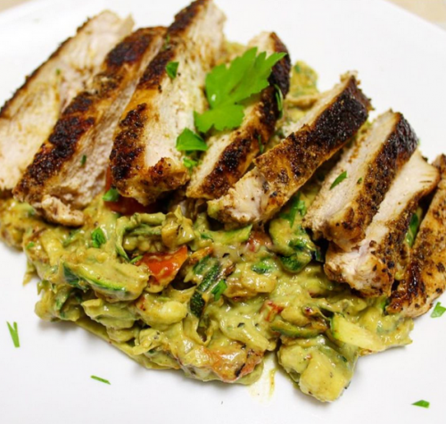 Grilled chicken with Zucchini noodles in an avocado and basil sauce