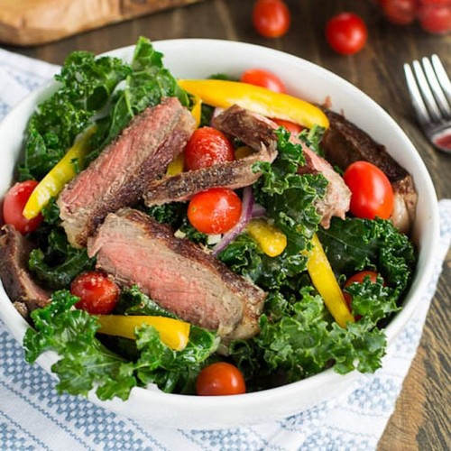 Steak and Sautéed Kale Salad with Miso Dressing