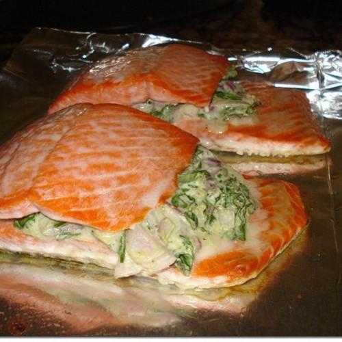 Spinach and Feta Stuffed Salmon