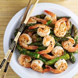 Shrimp and Asparagus Stir Fry with Lemon Sauce