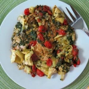 Spinach Pesto, Artichokes and Tomatoes