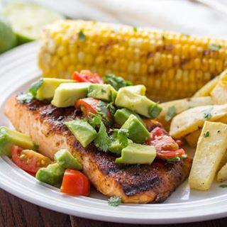 Chili-Rubbed Salmon with Avocado Salsa