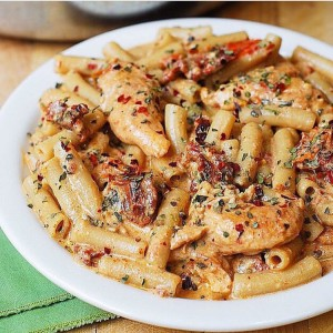 Chicken Mozzarella Pasta with Sun-Dried Tomatoes!