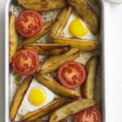 Oven-baked egg & chips
