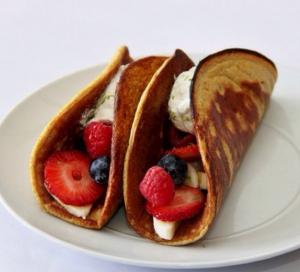 Fresh Fruit Pancake Tacos