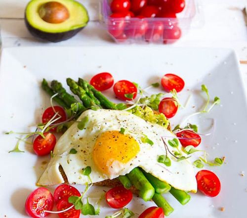 Healthy Egg & Avocado Sandwich with Asparagus