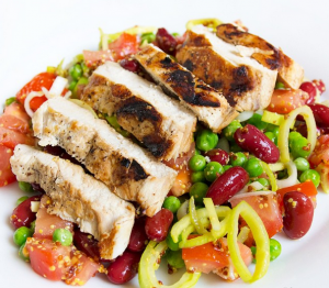 GRILLED CHICKEN BREAST WITH RED BEANS SALAD
