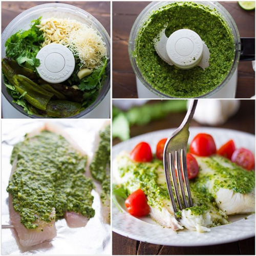 Cilantro-Chile Pesto Fish