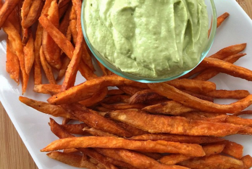 SWEET POTATO FRIES with an AVOCADO CREMA