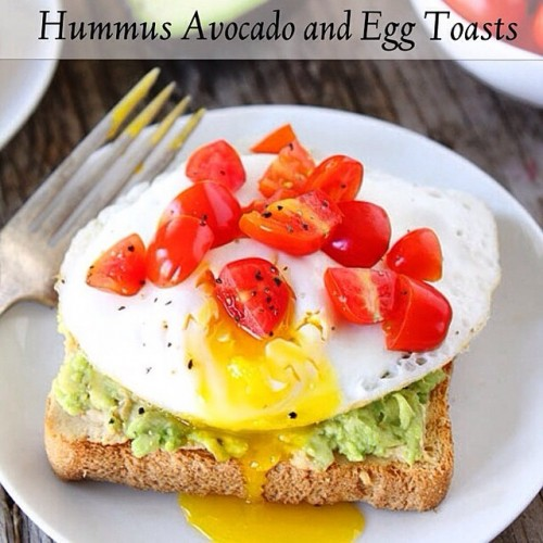 Hummus, Avocado, and Egg Toasts