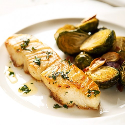 Pan-seared Chilean Sea Bass with Brussels Sprouts