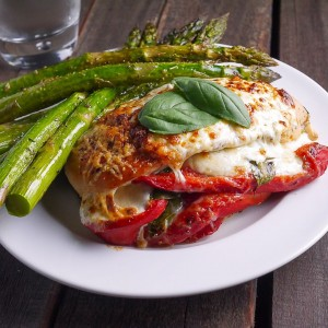 Roasted Red Pepper Mozzarella Stuffed Chicken
