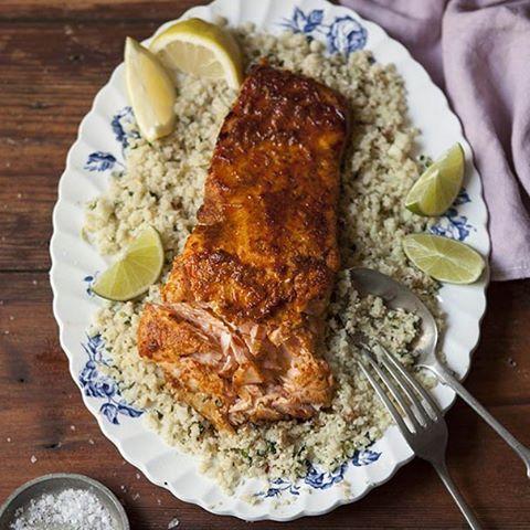 Cauliflower 'couscous' w/ grilled Salmon