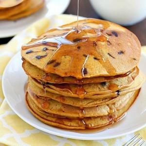 Dairy-Free Whole Wheat Chocolate Chip Pumpkin Pancakes