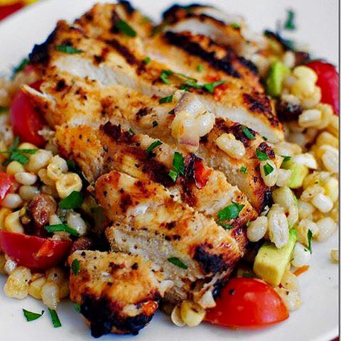 Grilled Chicken with Corn Salad