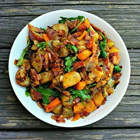 Crispy Potato Hash with Bacon and Wilted Arugula