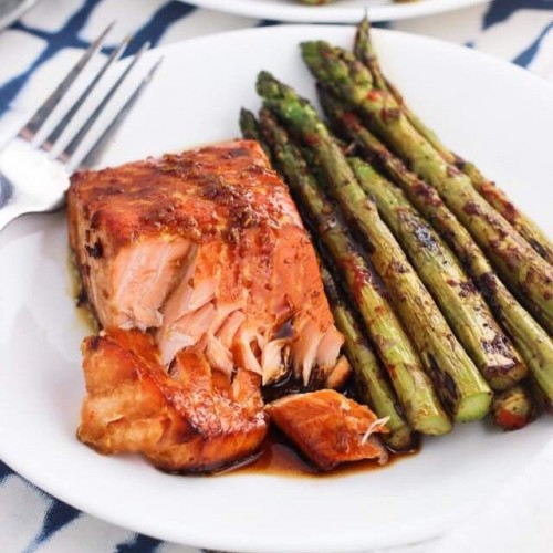 Sweet and spicy glazed salmon